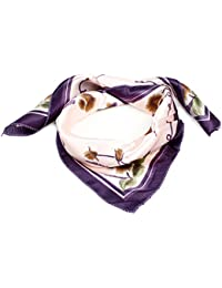 "Brown Dandelion Print Pink Purple Polyester 20"" Kerchief Neck Scarf for Woman"