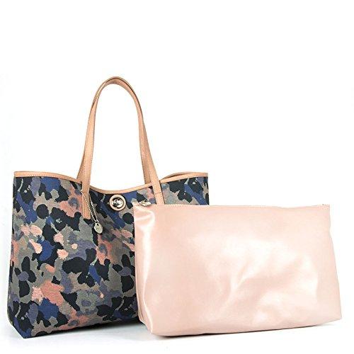 Shopping bag reversibile Loristella, fantasia camouflage e tinta unita, made in Italy