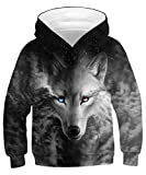 ALISISTER 3D Sweat à Capuche Garçons Filles Imprimé Wolf Hoodie Pullover Sweatshirt Sportswear Garçons Filles L