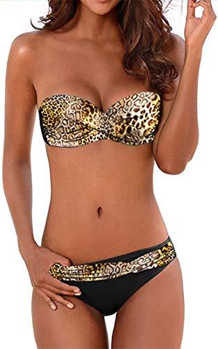 EUDOLAH Damen Bandeau Padded Bikini-Set Trägerlosen Badeanzug Push Up (X-Large Z-Leopard)