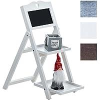 CLP estantería escalera RENATE, estantería plegable, aprox. 65 x 35 x 60 cm, dos cajas de estantería, una tabla para mensajes blanco