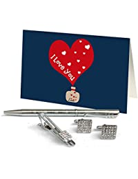 TiedRibbons® Best Gift For Men On Valentines Day Silver Cufflinks,Tiepin And Pen Combo Set With Valentine's Special...