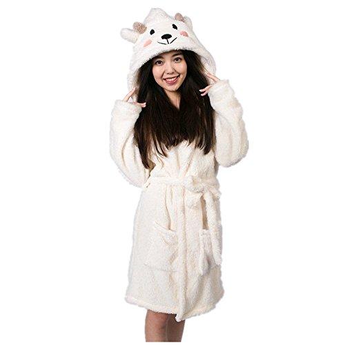 Kenmont Damen Bademantel/Morgenmantel mit Kapuze Robe Nachtwäsche Tier Kostüme Pyjama (M: 157-166cm, Sheep)