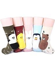Cute animal Women's Socks 5 pairs (5 color) = 1 pack Made in Korea