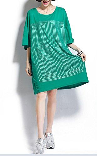 ELLAZHU Femme Géométrique Imprime Courte Manche Large Robe chemise GA89 Vert