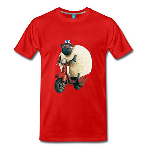 Spreadshirt Shaun Das Schaf Shirley Auf Roller Männer Premium T-Shirt, S, Rot