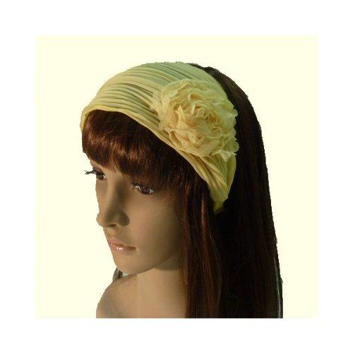 rougecaramel - Serre tête/headband/ large plissé façon bandeau - jaune