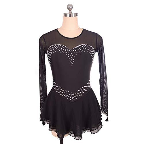 XIAOY Eiskunstlau Fkleidung Langä Rmelige Eiskun Stlauf Kleid für Mädchen Frauen Wettbewerb Kostüm,Black,XS
