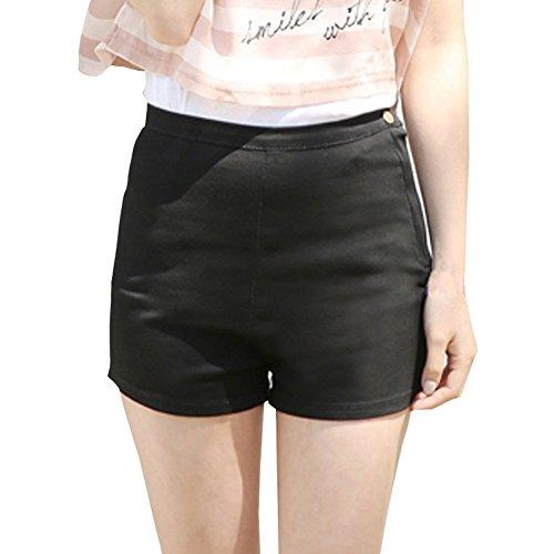 Minetom Sexy Damen Denim Jeans Shorts Hot Pants Seite Reißverschluss Kurzschlüsse ( Schwarz EU XL )