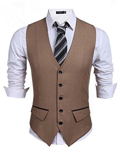 Burlady Herren Western Weste Herren Anzug Weste V-Ausschnitt Ärmellose Westen Slim Fit Anzug Business Hochzeit (XL, B-Khaki)