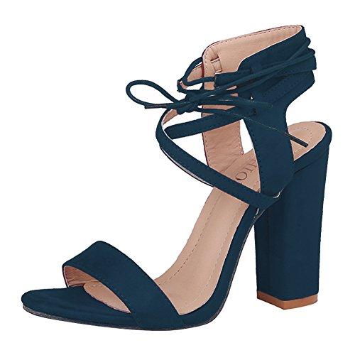 Kootk Schuhe Damen High Heels Blockabsatz Sandalen Lace-up Offene Pumps Elegante Riemchensandalen Absatzschuhe Hoch Absatz Sommerschuhe Abendschuhe Party Schuhe Blau 38