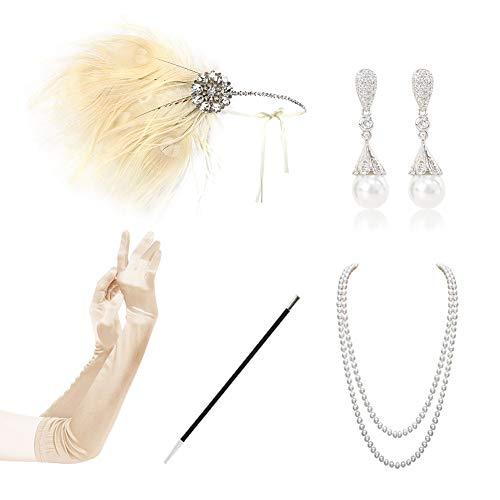KQueenStar 1920er Jahre Zubehör Set Flapper Kostüm Accessoires für Damen 20s Gatsby Jahre Stirnband Kopfschmuck Perlen Halskette Handschuhe Zigarettenspitze (Black6) (White A)