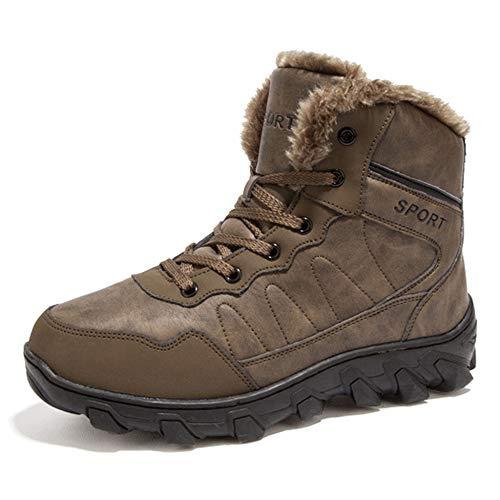 JINGRONG Scarponi da Trekking da Uomo Scarponi da Trekking Moda Campeggio Arrampicata Sportiva per Principianti Sport all'Aria Aperta Sneakers da Trekking Winter Warm Fleece Lining Shoes,Brown-42