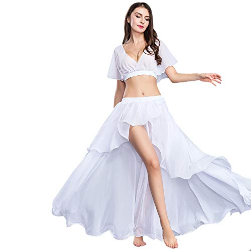 ROYAL SMEELA Bauchtanz Rock Tops Kostüm Anzug Bauchtanz-Set Outfit Performance Top und Rock Kleider Tänzerin Chiffon-Kostüm für Frauen Einfarbig -
