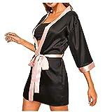 WOZOW Pyjama en Soie à Manches Longues pour Femmes Robe De Nuit avec Peignoir Ceinture Lingerie Sexy Femme Longue Kimono Nuisette Dentelle Bain(Noir,M)