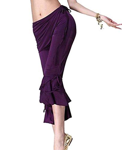 YuanDian Damen Freizeit Einfarbig Bauchtanz Kostüm Capri Hose Slim Fit Niedrige Taille Fitness Yoga Tanz Hosen Violett (Kostüme Moderne Bauchtanz)