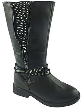 Mädchenmode, schwarze kniehohe Stiefel, Kunstleder, Strassverzierung, Reißverschluss, Größe 11-4