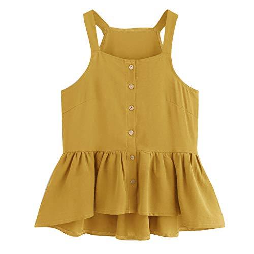 only storerine 2019 Damenhemd, lässig ärmellos geschnittenes einreihiges gekräuseltes, glamouröses Oberteil Justin Womens Hut