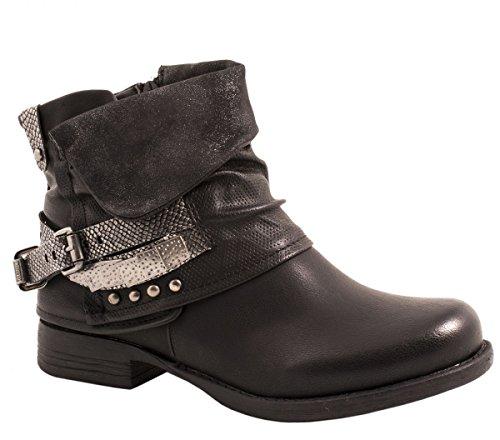 Elara Damen Biker Boots | Metallic Prints Schnallen | Nieten Stiefeletten Lederoptik | Gefüttert F275-Schwarz-36