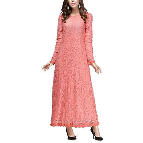 Highdas moslemische Dame Langhülse ethnische Robefrauenart und weise dünnes Spitze-Fußbodenlänge arabisches Kleid Rosa