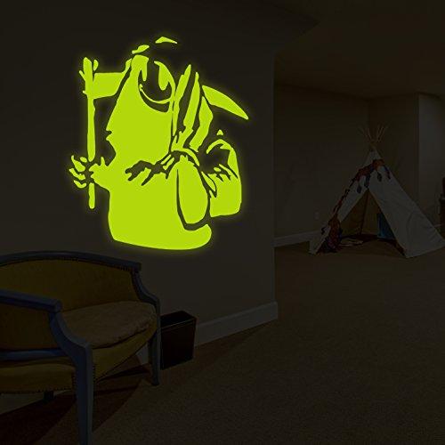(146x 160cm) Banksy Glowing Vinyl Wand Aufkleber Death mit Happy Smile Face/Glow in Dark Doom mit Braid Aufkleber/Leuchtziffern Wandbild + Gratis Aufkleber Geschenk (Happy Face-wand-aufkleber)