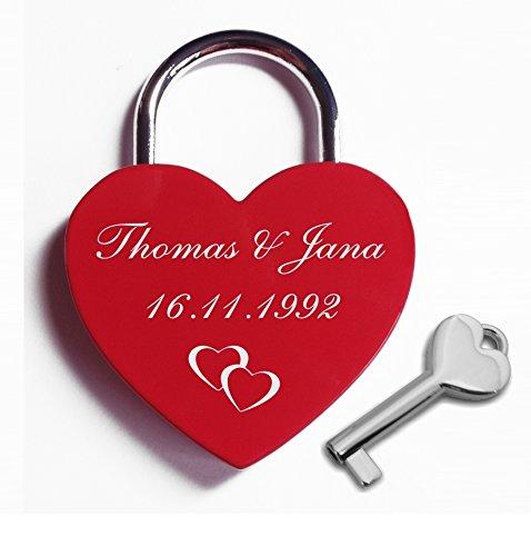 *Herz Liebesschloss mit Gravur nach Wunsch, wählen Sie aus Motiv und Schriftart frei aus.*
