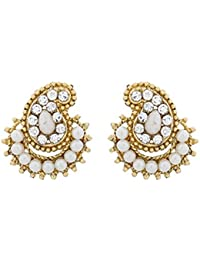 The Luxor Gold Plated Designer Australian Diamond Studded Alloy Stud Earring For Women(ER-1517)