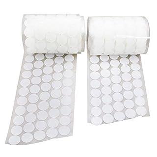 Arlent 500 Stück Selbstklebend Klett - Klebe - Punkte je 250 Haken und 250 Flausch 20 mm Weiß Coins Dots