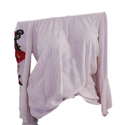Xiantime Damen Langarmshirt, Damen Bluse Frauen Langarm Bestickt Applique Bluse Pullover Tops Shirt...