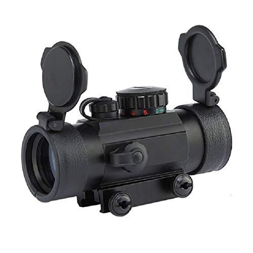 YODZ Roter Punktvisier, 1X30 4 Arten Rote Punkte, 5 Arten Helligkeitsbereich Reflex Holographische Optik Tactical Passt 20mm Schiene mit hochklappbarer Objektivabdeckung für Airsoft Gun
