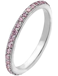 Virtue Silver Stackable VRS6002 Fine Silver Ring with Line Of Pink Cubic Zirconias