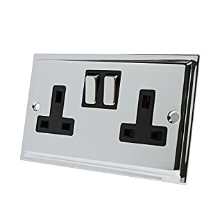 Slimline Polished Chrome 2 Gang Socket Black Insert Metal Rocker Switches - 13 Amp Double Plug Socket