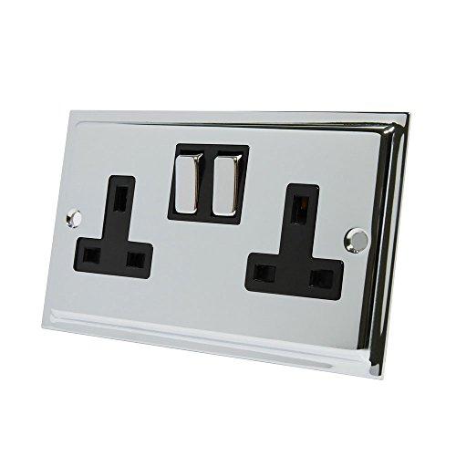 Slimline cromo pulido 2Gang Socket Negro Insertar Metal Rocker interruptores–13Amp Doble Enchufe