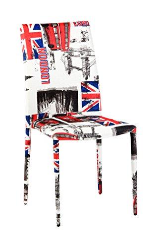 Cribel-Londra-Sedia-Rivestimento-in-Tessuto-Motivo-Grafico-Londra-4-Pezzi