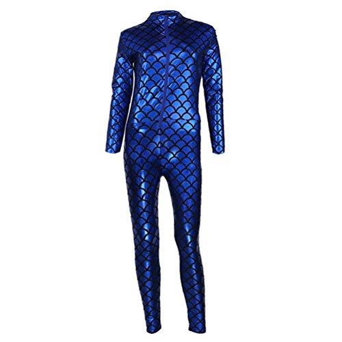 ic Fisch Skala Muster Overall Catsuit Bodysuit,Damen Catsuit Leder Jumpsuit Overall Catwoman Kostüme (Kostüme Für Verkauf Uk)