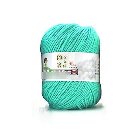 Lsv-8Fibroïne Pelote de laine lisse Laine peignée doux Tricot de soie naturelle Laine Fibre (1pièce: Vert)