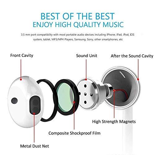 Auriculares 3.5mm con micrófono y Control de Volumen Compatible con iPhone 7/7 Plus / 8/8 Plus/X/XS/XS MAX / 11/11 Pro