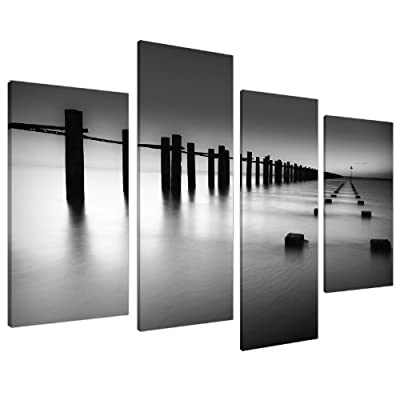 Large Black White Living Room Canvas Wall Art Pictures Prints XL 4085