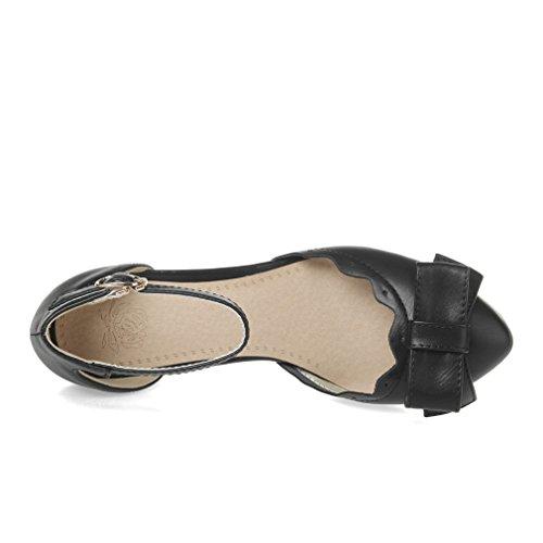 UH Femmes Sandales Bride Cheville à Talons Moyen Carre avec Noeud a Deux Boucles Douce et Confortables Noir