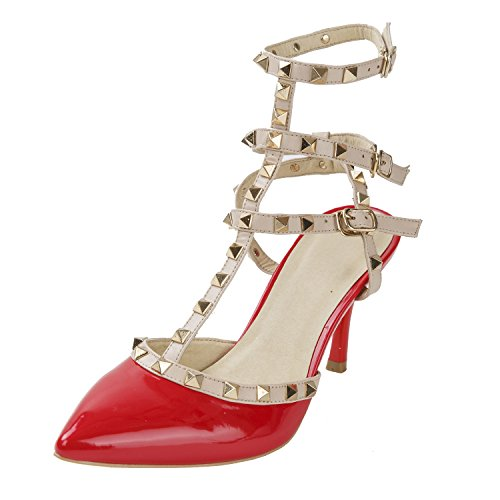 Women's Studded Patent Leather Contrast Stilettos&High Heel Pointed Toe Buckle Sandals Red