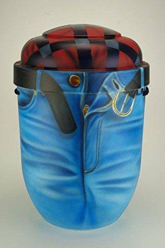 Biologisch abbaubar Verbrennung Asche Urne–Erwachsenen-Größe–bunten Bild Design–Denim Jeans