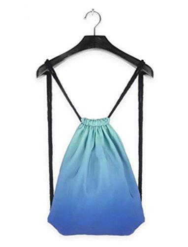 FZHLY New Kordelzug Breite Schultertasche Männer Und Frauen Einfache Steigung-Farben-Fitness-Tasche BlueGradientClassic