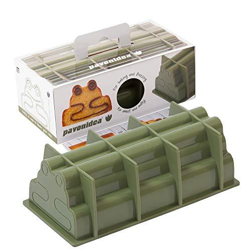 Plat à cake « Frosch & Bär Box » 100% silicone platine Bread Mould, Moule à cake Moule à pain en forme de pain, cadeau d'anniversaire, gâteau à pâtisserie pour enfants, gâteau avec boîte cadeau 27 x 13 cm (vert FRT195)