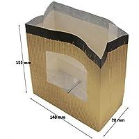 1.000 sacchetti di carta resistenti per biscotti e cupcake, con finestrella e fondo rigido, carta kraft sbiancata