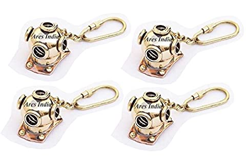 Ares India Solid Brass Divers Helmet Keychain Nautical Maritime Diving Gift - Set Of 4