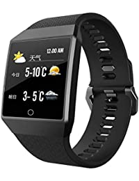 Denret3rgu Smart Watches Waterproof 1.3inch Bluetooth Heat Rate Monitor Pulsera Inteligente para Android iOS - Negro