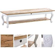 CLP mesa de centro VARTAN de madera maciza, altura aprox. 40 cm, estilo rústico blanco