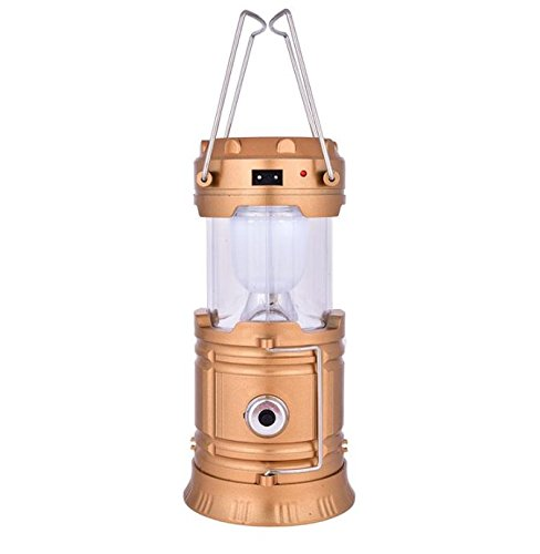 EASELIFE Premium Quality 6 LED Solar Power Camping Lantern Light Rechargable Collapsible Night Light Outdoor Super Bright Hiking Flashlight (Gold)  available at amazon for Rs.349