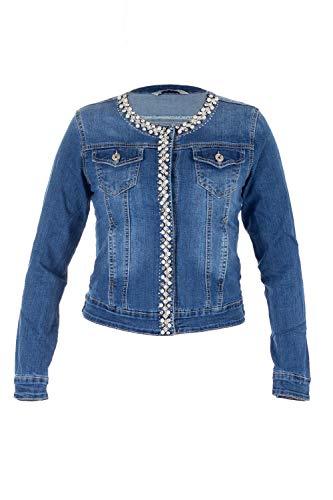 Malucas Damen Jeansjacke Übergangsjacke Leichte Jacke Mit Perlen Strasssteinen und Knopfleiste Ohne Kragen Stretch Denim 00600, Größe:38, Farbe:Blau