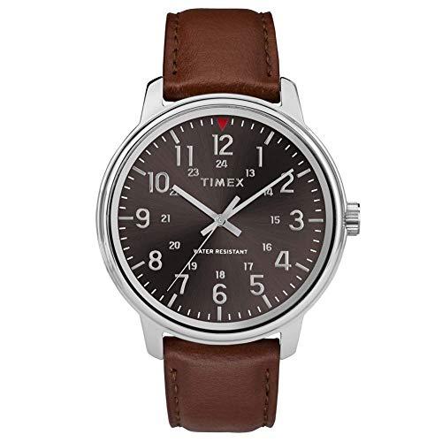 Timex Herren Analoger Quarz Uhr mit Echtes Leder Armband TW2R85700